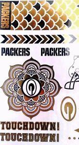 NFL-Temporary-Metallic-Foil-Tattoo-Body-Jewelry-Set-Choice-of-Teams