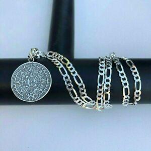 925-Sterling-Silver-Azteca-Maya-Calendar-Pendant-W-Necklace-22-inch