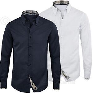 Uomo-Camicia-Button-Down-Manica-Lunga-Comfort-Slim-Casual-GIROGAMA-2338CL