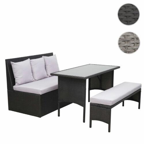 Gastronomie 2er Sofa Tisch Bank Poly-Rattan Garnitur HWC-G16 Gartengarnitur