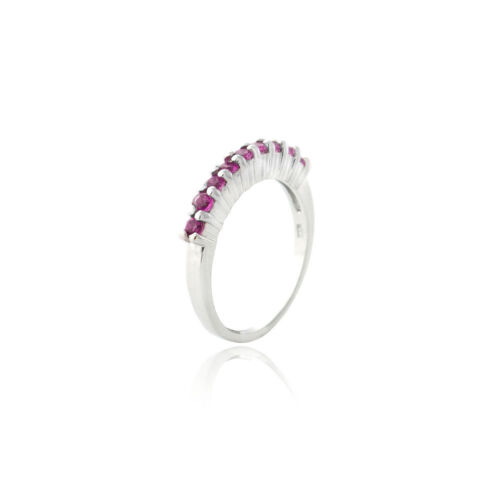 Argent 925 Labo Création Ruby semi-Eternity Band Ring Taille 6