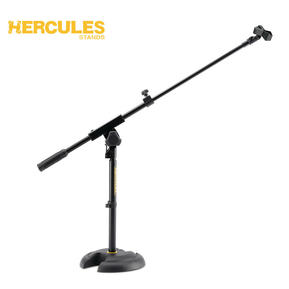NEW Hercules MS120B Low Profile  H  Base Microphone Stand w  Boom and Mic Clip