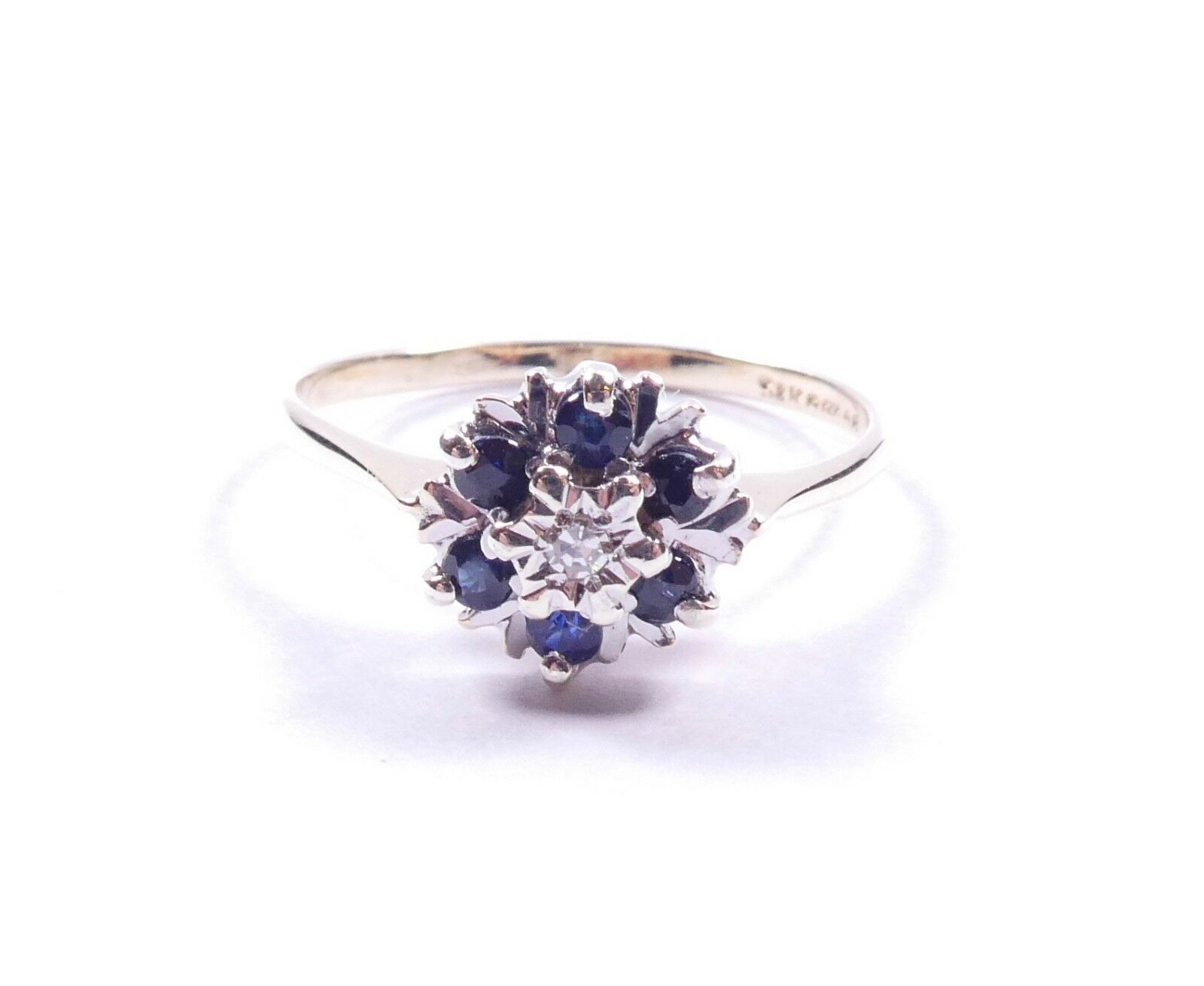 Sapphire and diamond cluster ring 9 carat yellow gold P1 2
