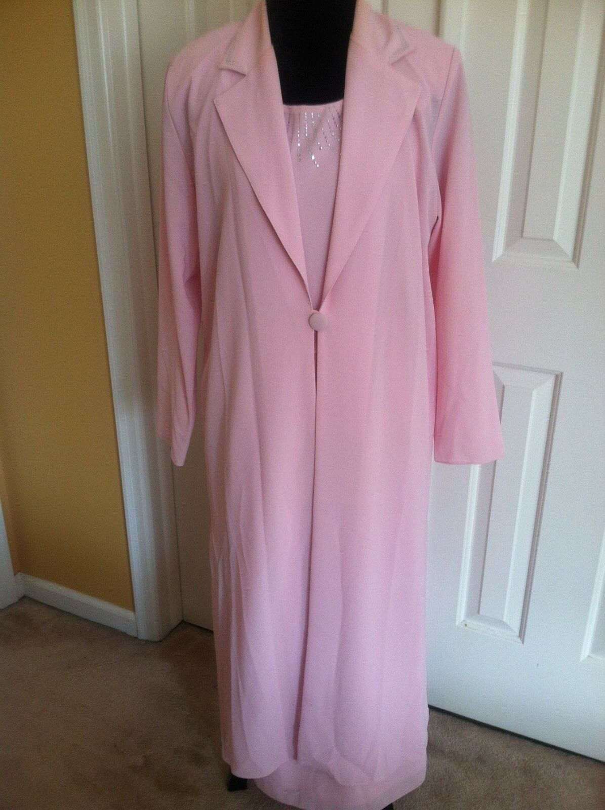 Women's She's Line New York 3 PC Pink Beaded Maxi Skirt Suit Size 14
