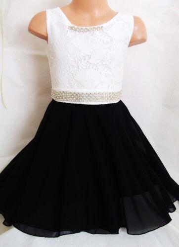 GIRLS WHITE LACE BLACK CHIFFON DIAMONTE TRIM SPECIAL OCCASION PROM PARTY DRESS
