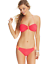 California-Waves-Women-039-s-Crochet-Bandeau-Bikini-Top-Coral thumbnail 2