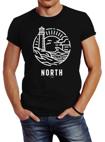 T-shirt Hommes Logo Outline Type Maritime Phare Vague impression North Slim