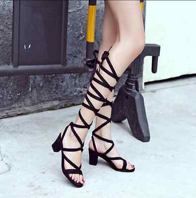 Womens Chunky Suede Lace up Roma Gladiator Low Heels Shoes Mid-calf Boots Sandal
