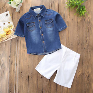 6684b831e4b5 Infant Baby Boys Kids Summer Clothes Suit White T-shirt+Denim Shorts ...
