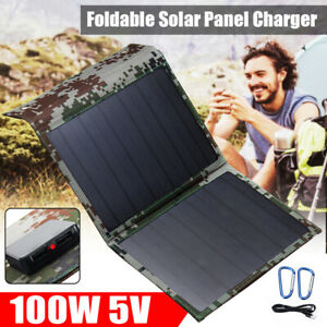 100W Foldable 5V USB Solar Panel Power Bank Outdoor For Cellphone Battery Charge