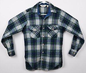 Vtg-Woolrich-Men-039-s-Sz-Small-Medium-Wool-Blend-Blue-Green-Plaid-Flannel-Shirt