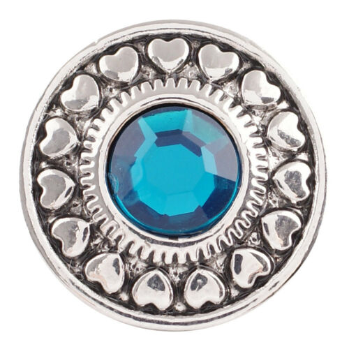 18MM Blue Heart Rhinestone Silver Charm for Snap Jewelry KC5044 CC2663 1 PC