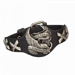 Harley-Genuine-Leather-Bracelet-Eagle-Davidson-Skull-Style-Black-Biker-Punk-Men