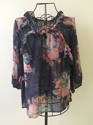 Anthropologie Leifsdottir Sheer Navy 100% Silk 3/4 Sleeve Floral Blouse Sz 4 EUC