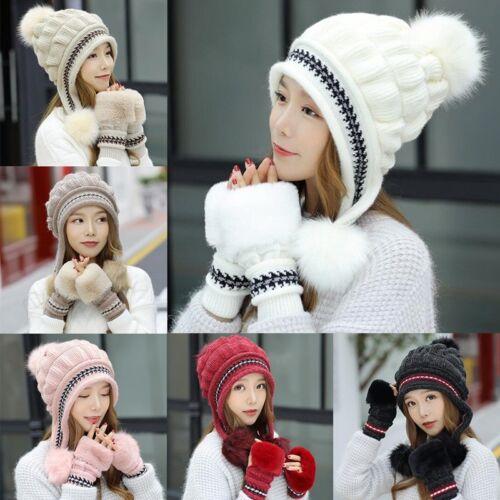 Mode Plüsch Ohr Winter Knit Warme Frauen Hüte Handschuhe Zweiteiler Strickmütze