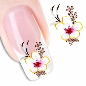 Nail-Art-Water-Decals-Stickers-Transfers-Deep-Purple-Flowers-Gel-Polish-1551