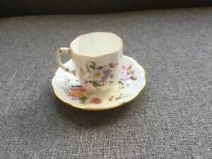 ROYAL CROWN DERBY DERBY POSIES COFFEE CUP AND SAUCER  XL CIRCA 1977