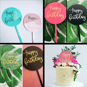 Image Is Loading Acrylic Happy Birthday Cake Topper Party Supplies