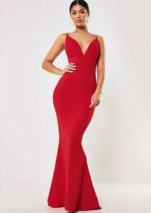 MISSGUIDED-RED-PLEATED-BUST-FISHTAIL-PARTY-COCKTAIL-MAXI-DRESS