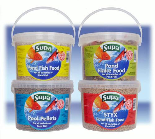 4 DIFFÉRENTS Supa Pond Fish Food in 3 l Seaux granules pellets de flocons de bâtons