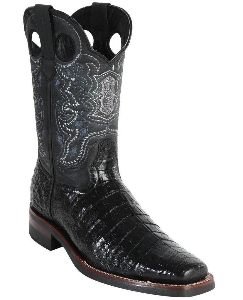 WILD WEST Noir Crocodile Belly Cowboy démarrage Rodeo-Square-Toe semelle en caoutchouc (D)