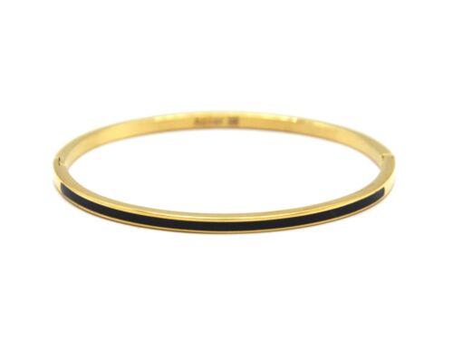 BC3140F Bracelet Jonc Fin Acier Doré avec Bande Email Noir