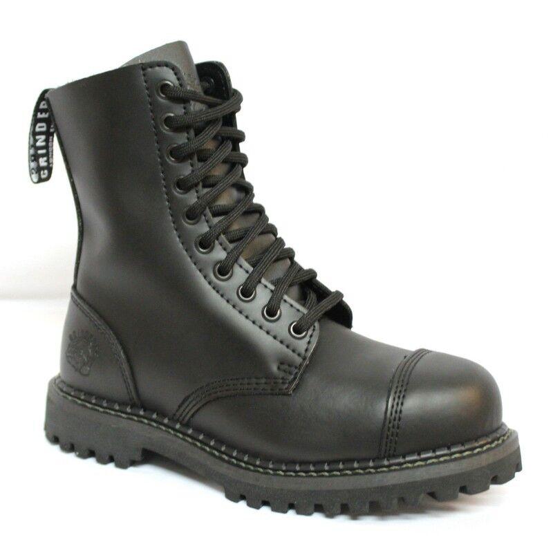 GRINDERS STAG CS Reino Unido 9 Negro Puntera De Acero botas De Cuero 10 orificios