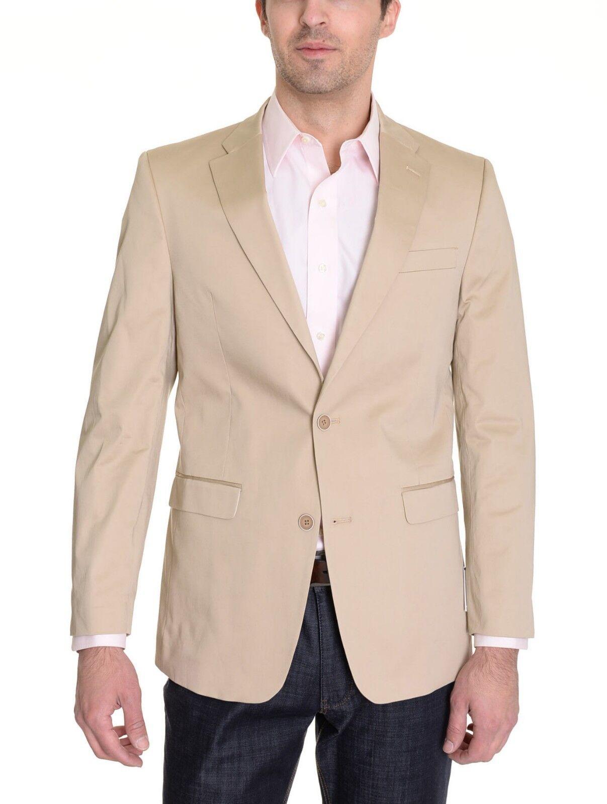 400 Tommy Hilfiger Khaki Tan Light Braun Cotton Trim Fit Summer Sportcoat 46R