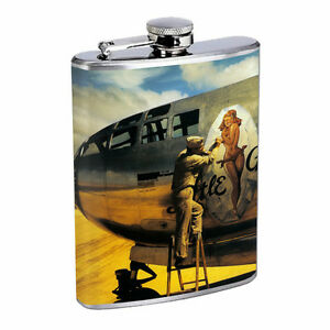 Japanese Pin Up Girls D4 Flask 8oz Stainless Steel Hip Drinking Whiskey