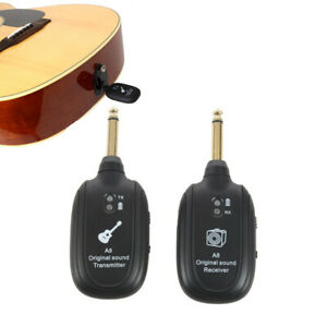 A8-Guitar-Wireless-System-Transmitter-Receiver-Pickup-USB-Rechargeable-Music-New