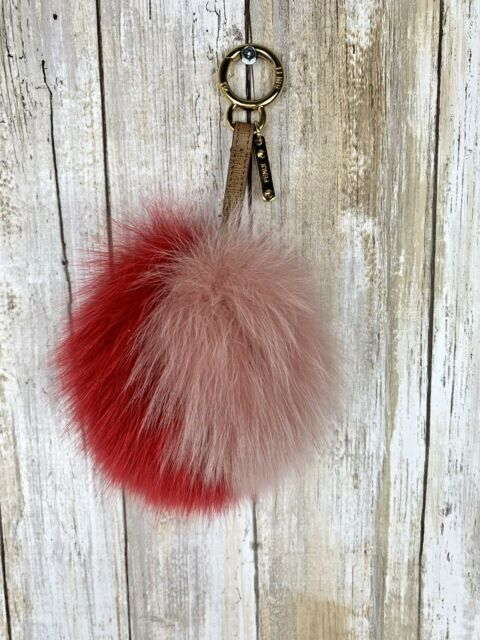 14f87705df55 FENDI Pink Blush Fox Fur Pom Pom Key Chain Tan Gold Bag Charm Monster  AUTHENTIC