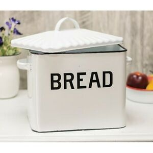 Details about Kitchen Storage Bin Bread Box Vintage White Enamel Farmhouse  Style Container New