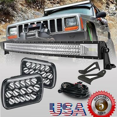"7x6/""LED Headlights+Bracket For 84-01 Jeep Cherokee XJ 50/'/' Curved LED Light Bar"