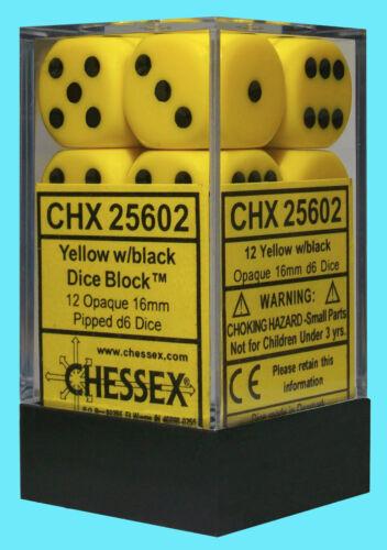 CHESSEX 12 die set OPAQUE YELLOW w// BLACK NEW dice d6 16mm block CHX25602 rpg