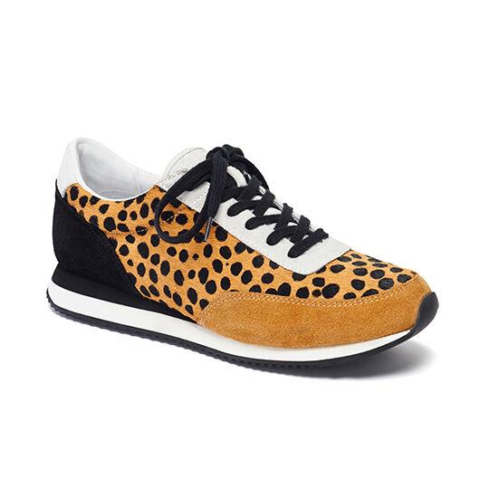 Loeffler Randall Rio Runner Gold Sneaker Cheetah Haircalf/Black & Gold Runner Suede Size 6 c7ef0c