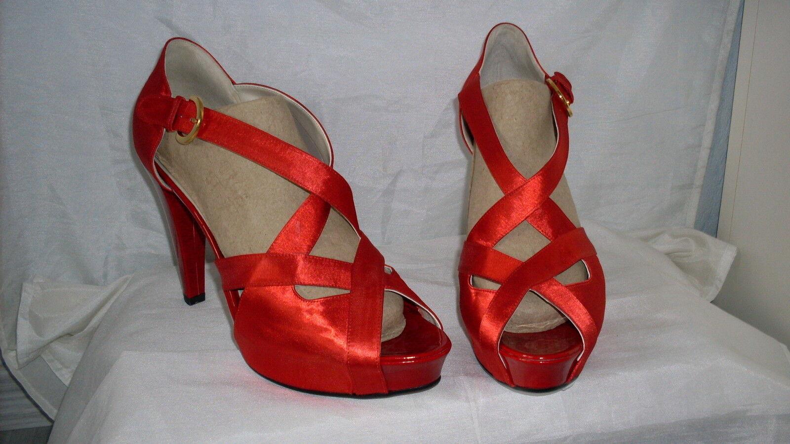 Sexy tacco alto sandali Nuovo Taglia Rosso 41 in Rosso Taglia Vernice & Satin necessariamente lignaggio ee02c9