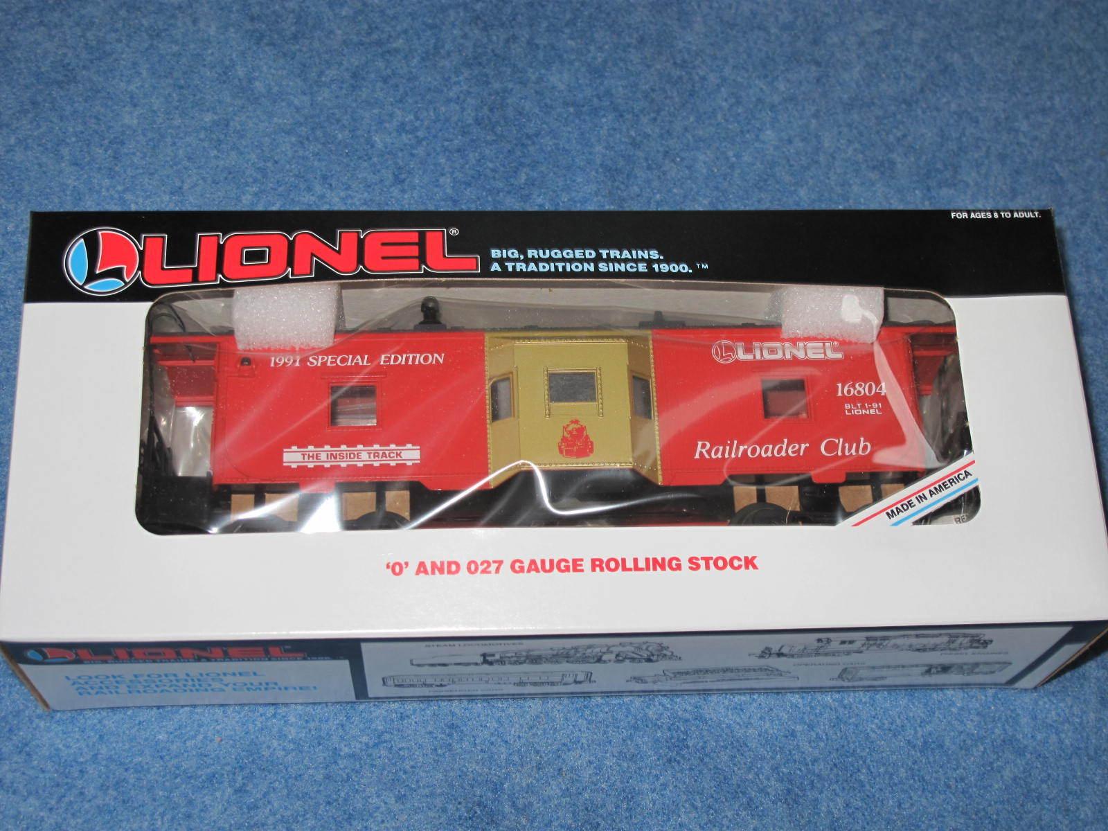 1991 Lionel 6-16804 Lionel Railroader Club Bay Window Caboose Nuovo in Box L2301