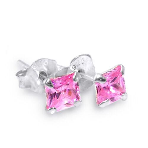 925 Pernos de Pendiente de Plata Esterlina Cuadrado Con Zirconia Piercing Joyería Rosa