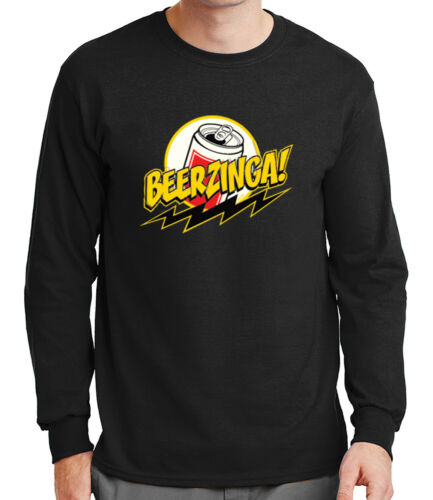 Beerzinga Mens Long Sleeve Tshirt College Humor Sheldon Funny Beer Tee 1314C