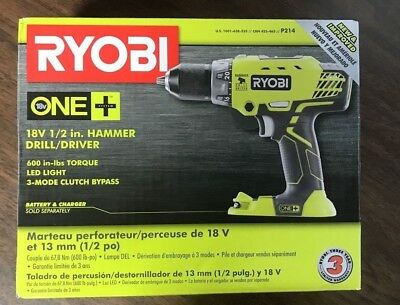 Tool Only Ryobi P214 One 18V Lithium Ion 1//2 In Torque Hammer Drill//Driver