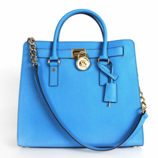 e76ef3183da1 Michael Kors Hamilton Blue Large NS Tote Saffiano Leather Handbag ...
