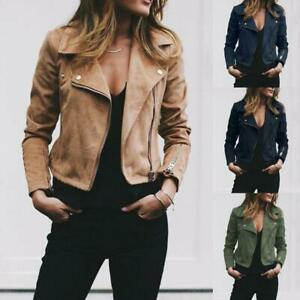 Lady-Suede-Leather-Jacket-Flight-Coat-Zip-Up-Biker-Casual-Tops-Clothes-Warm-Nice