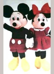 Disney Mickey And Minnie Mouse Toy Crochet Pattern Approx 12inc