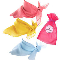 Easter Basket Fashion Scarf Set - Pink, Yellow, And Blue Sheer Chiffon Scarves
