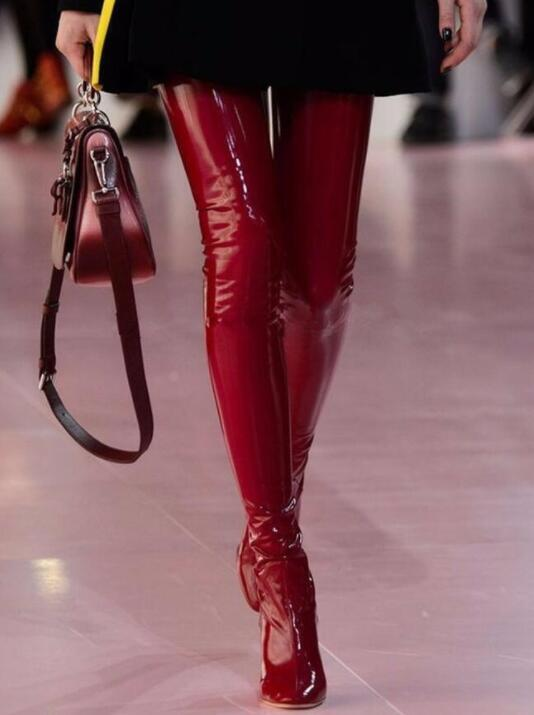 Donna High Heels Clear Patent Leather Over The The Over Knee High Boots Shoes Zipper X05 a84927