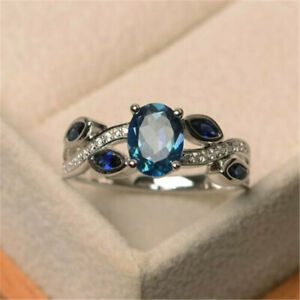 925-Silver-Filled-Wedding-Rings-Women-Aquamarine-Ring-Jewelry-Gift-Size-6-10