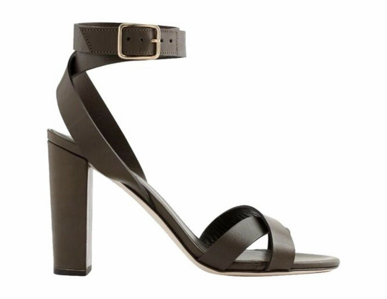 J. crew leather strap cross sandals 7m numbers distressed olive verde e7308
