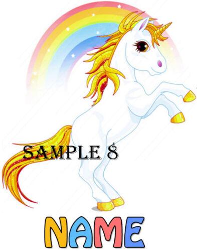 Personnalisé Rainbow Unicorn Iron On Transfert Pour T-shirts etc ref ctang 01-08 T