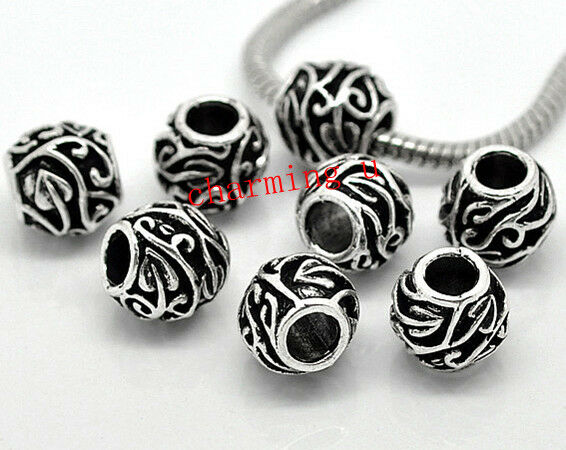 2pz  distanziali spacer beads 11x11mm colore argento tibet