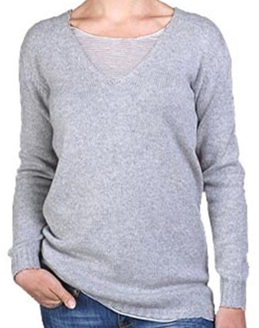 Balldiri 100% Cashmere Damen V Pullover 6-fädig hellgrau S